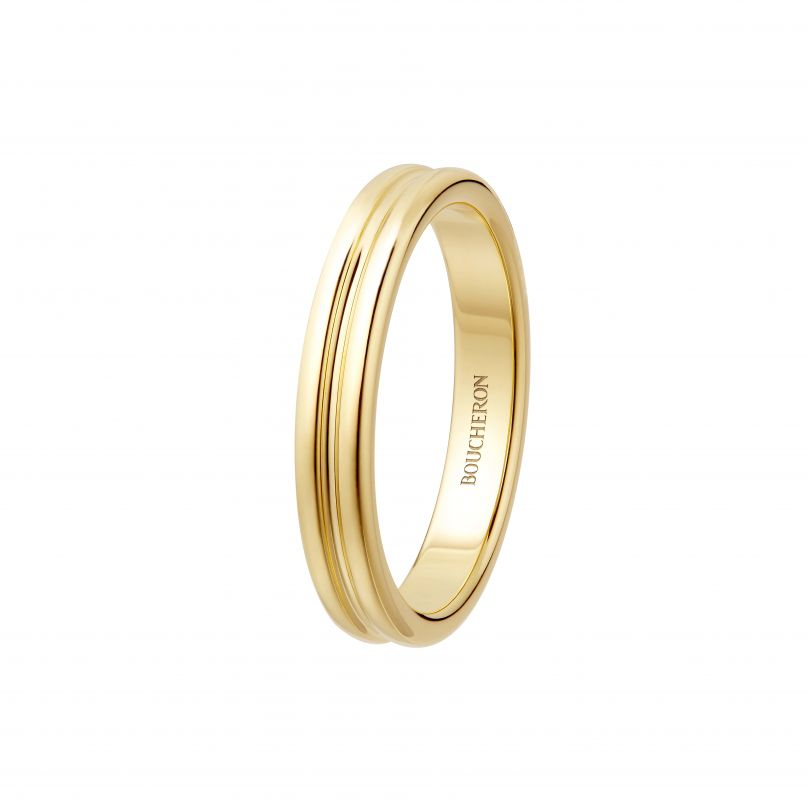 First product packshot Double Godron Yellow Gold Wedding Band
