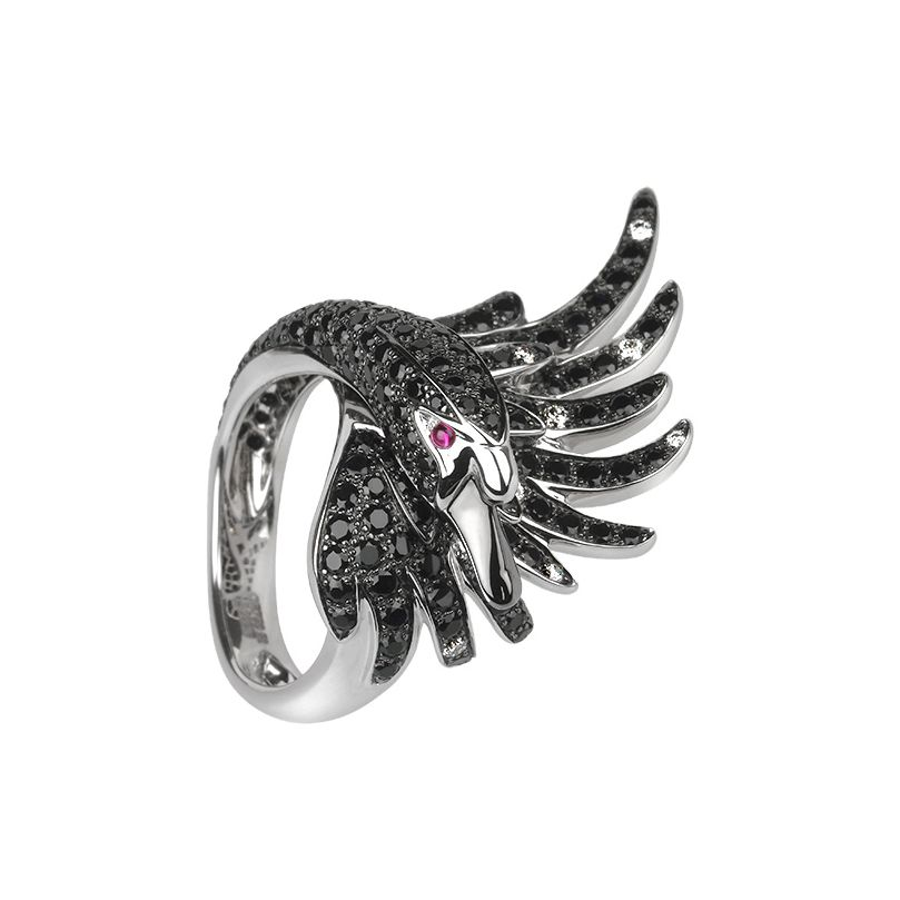 First product packshot Cypris, the swan ring Black sapphires