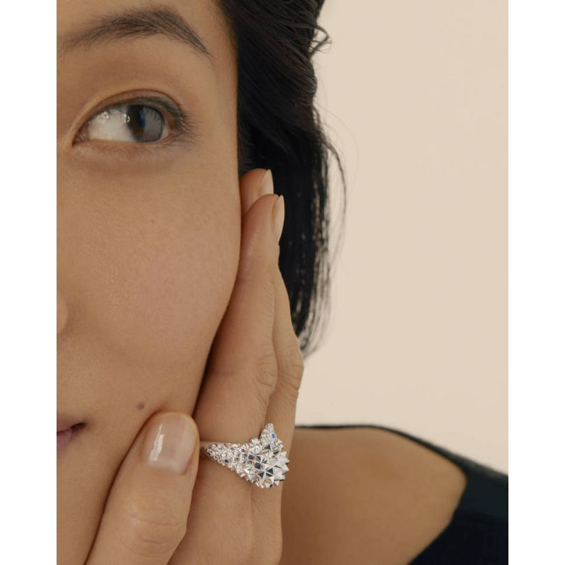 Second worn look Hans, the hedgehog ring, Diamonds