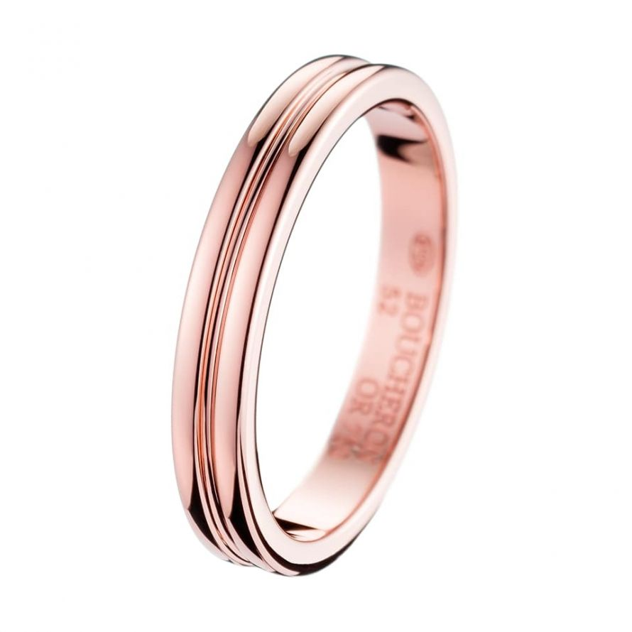 First product packshot Godron Pink Gold Small Wedding Band