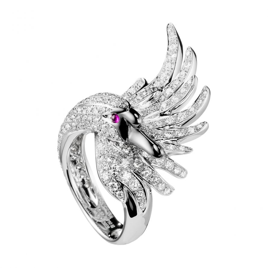 First product packshot Cypris, the swan ring Diamonds
